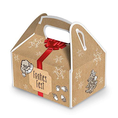10 kleine Weihnachtsschachtel Geschenk-box Geschenk-Karton Weihnachten rot natur FROHES FEST 9 x 12 x 6 cm Verpackung weihnachtlich für Kunden Mitarbeiter schwarz beige braun natürlich