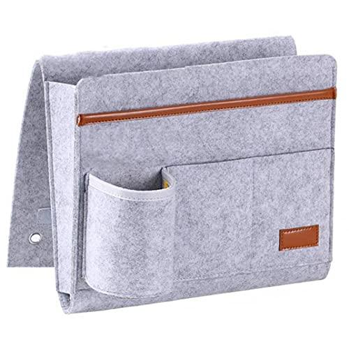 Sofá de noche Caddy Organizador Bolsa de almacenamiento de control remoto Titular de bolsillo colgante con Portabotella bolsa gris de almacenamiento