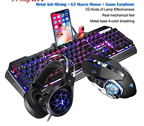 Mechanical Keyboard And Mouse Headset Driedelig pak Desktop Computer Notebook Gaming Peripherals Thuis Internet Cafes E-sports