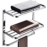 3-Tier Bathroom Shelf with Towel Bars, Stainless Steel Wall Mounting Rack,22-1/2 Inch
