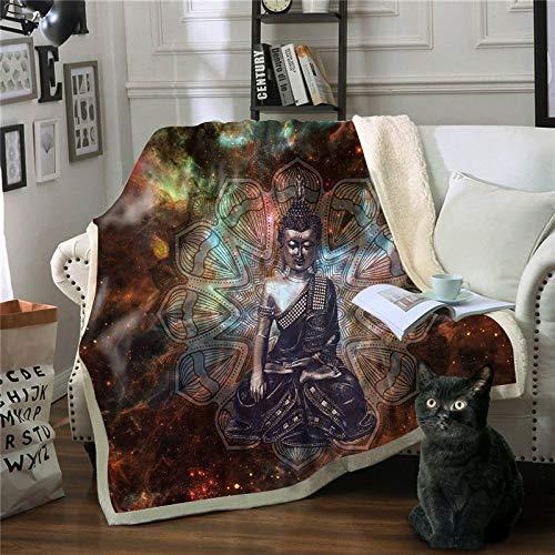 Mantas,Personalidad estatua de Buda La impresión 3D Zen Manta Chicas Chicos colchas suaves camas cama de felpa Sherpa MANTA Manta regalos para niños adultos se desplazan mullidas edredón cálido,1
