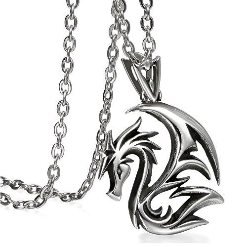JewelryWe Schmuck Herren Anhänger Halskette, Edelstahl Gotik Drachen Anhänger mit 55cm Kette, Schwarz Silber