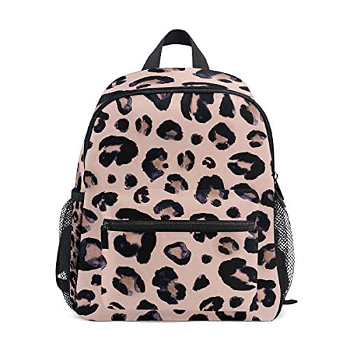 ISAOA - Mochila para niñas pequeñas con estampado de leopardo, color rosa, mochila para guardería, mochila para guardería, con correa para el pecho, bolsa para pañales