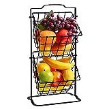 BGSFF Canasta de Almacenamiento Colgante para encimera extraíble Multiusos para Frutas, bocadillos, Pan de Papa, Canasta de Frutas de Metal Negro de 2 Niveles, Canasta Colgante, Color ne