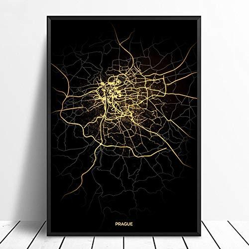 Serthny Schilderij afbeeldingen, Prag City Light Maps Custom Wereld Stadsplan Posters Kunstdruk op canvas in Scandinavische stijl Wall Art Home Decor 60x90cm (23.62×35.43inch) no frame