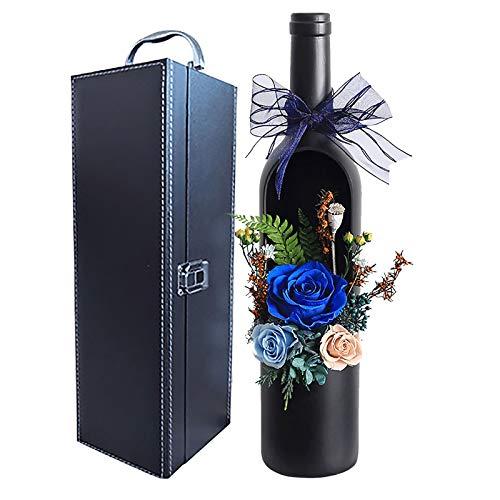 YJF-YSH Flor Eterna Rose con Botella De Vino Caja De Regalo Flores Inmortales para Amante Día De Acción De Gracias Christma Día De San Valentín Aniversario Y Duchas Nupciales Caja De Regalo,Azul