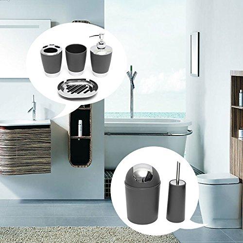 Bazaar 6pcs accessoire de salle de bain mis en brosse de toilette plat brosse à dents tasse de soupe