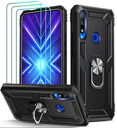 ivoler Funda para Huawei P Smart Z/Honor 9X + [Cristal Vidrio Templado Protector de Pantalla *3], Anti-Choque Carcasa con 360 Grados Anillo iman Soporte, Hard Silicona TPU Caso - Negro