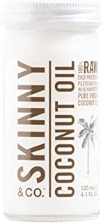 SKINNY and CO. Organic 100% Raw Virgin Skinny Coconut Oil for Skin and Hair and Supplement (4.1 oz. Travel Size)
