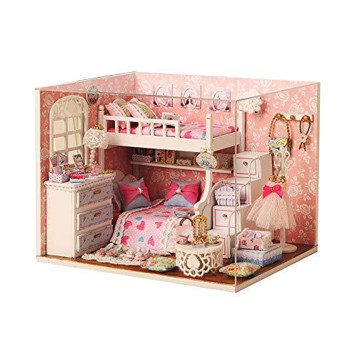 Casa de muñecas en miniatura con muebles, kit de casa de muñecas de madera más a prueba de polvo y movimiento de música, escala 1:24 idea creativa sala