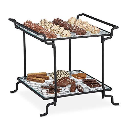 Relaxdays Etagere 2-stöckig, Snacks & Gebäck, eckig, Glas/Metall, HBT: 26x27,5x26cm, Servierständer, schwarz/transparent, 1 Stück