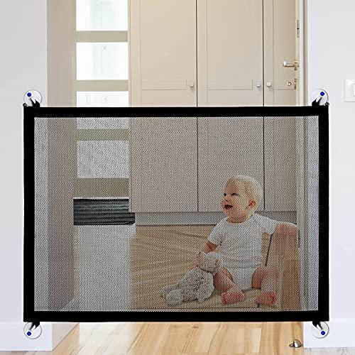 YOOFOOR Barrera Seguridad Niños 100 X 86 cm, 7 in 1 Barrera para Perros o Bebés, Puerta Mágica Malla de Nailon Plegable y Portátil, Adecuado para Interior/Exterior/Escaleras/Entradas/Pasillos(