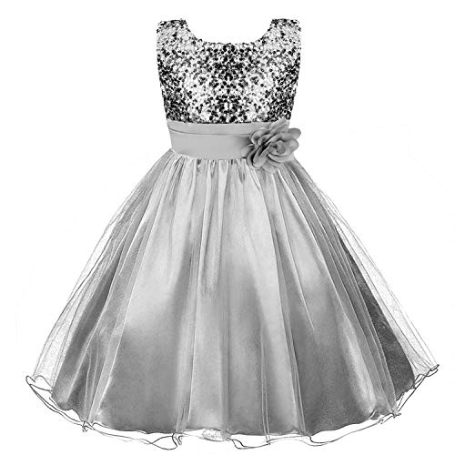 Discoball Girls Princess Dress Sequin Tulle Flower Pageant Birthday Party...