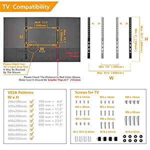 5Rcom Universal Table Top TV Stand TV Legs TV Base Replacement Height Adjustable Leg Stand for 22 to 65 inch Plasma LCD LED Flat Screen TVs Holds up to 88lbs,Max VESA 800 x 500mm