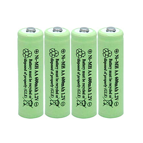 BAOBIAN AA 600mAh 1.2V NiMH Rechargeable Batteries for Solar Light,Solar Lamp,Garden Lights Green(4 PCS)