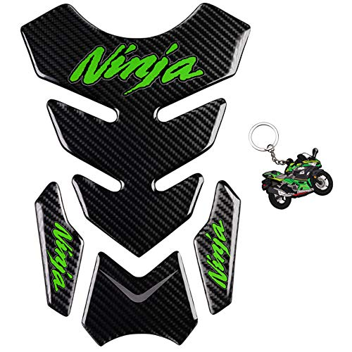 REVSOSTAR 5D Real Carbon Fiber, Motorcycle Decal Vinyl Tank Protector, Tank Pad with Keychain for Ninja 650 ZX636 ZX600 ZX-10R ZX14 ZX1400 ZX14R ABS 1000 ZX100, 2 Pcs Per Set (Green)