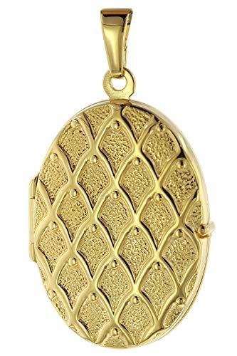 trendor Medaillon mit Muster Gold 333 / 8K zauberhaftes Gold-Medaillon für Damen, einzigartiger Goldschmuck für Frauen, liebevolle Geschenkidee, 75535