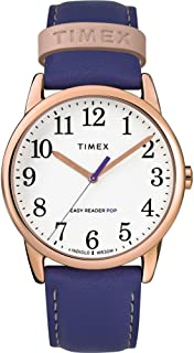 Timex TW2T18600 Weekender Color Pop White Easy Reader Dial Purple Leather Band 38 mm Watch