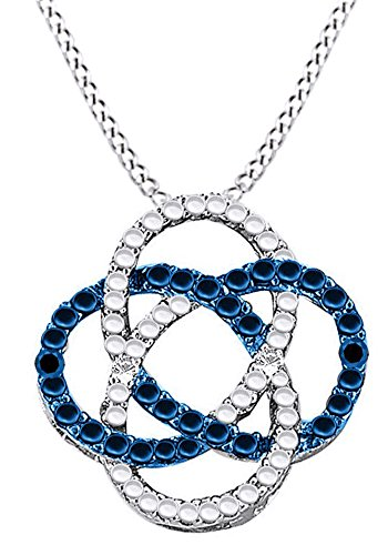 AFFY Round Cut Blue & White Natural Diamond Celtic Knot Pendant Necklace in14k White Gold Over Sterling Silver