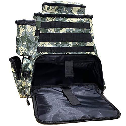 Thekuai Angelausrüstungs-Rucksack, 2 Angelrutenhalter, großer Stauraum, Rucksack für Forellenangeln, Outdoor-Sport, Camping, Wandern – nur Tasche (Camo Grey Pack)