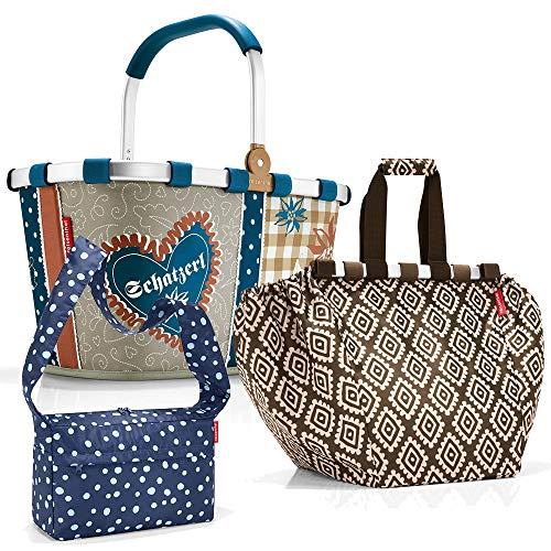 reisenthel Carrybag Einkaufskorb Einkaufstasche Easybag Shoppingtasche Korb Falttasche Einkaufskorb Picknickkorb Shoppingbag Klappkorb Geschenk Set (Bavaria (+Diamonds moch))