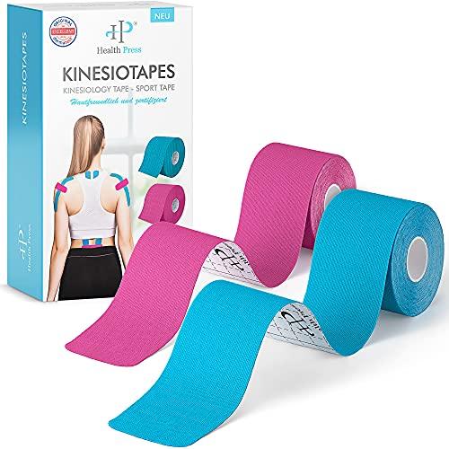 Kinesiotapes - 2 Kinesiologie Tape Rollen Blau + Rosa (5cm x 5m) - Original Health Press Kinesiotape - Profi Physio Tape und Sporttape - Hautfreundliche Tapes DERMATEST: SEHR GUT