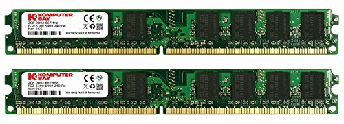 KOMPUTERBAY 4GB (2X 2GB) DDR2 667MHz PC2-5300 PC2-5400 (240 PIN) DIMM Memoria para PC con Samsung Semiconductors