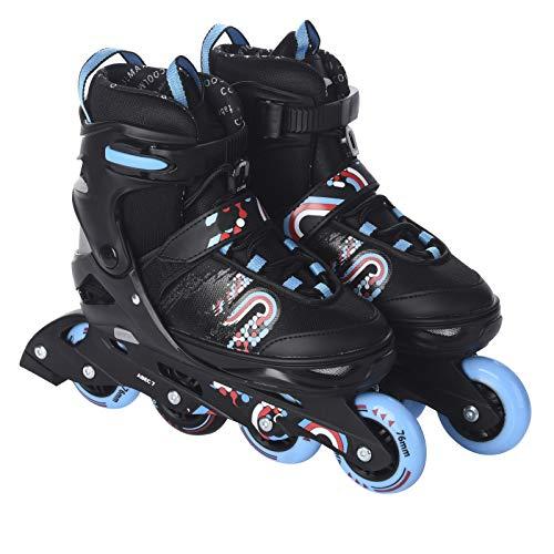 L.A. Sports Inliner Skate Soft Kinder Jugend Damen Größenverstellung 5 Größen verstellbar (33-37, Blau - Rot)