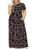 LONGYUAN Womans Summer Lounge Plus Size Stretch Beach Long Dresses with Pockets Fl-gypsophila Black,XL (Apparel)