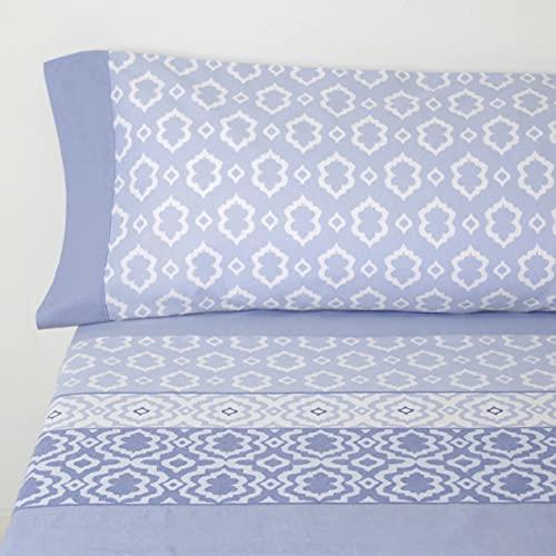 10XDIEZ Sábanas Franela sofía Azul | (Cama 135 cm - Azul)
