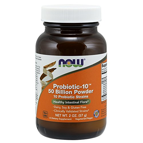 NOW Supplements, Probiotic-10 Powder, 50 Billion, with 10 Probiotic Strains, Strain Verified, 2 oz