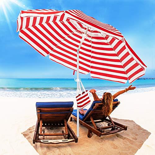 ROWHY 6.5FT Beach Umbrella Outdoor Portable