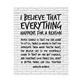 Marilyn Monroe-'I Believe That Everything Happens For A Reason'-Inspirational Quotes Wall Art-8 x 10' Retro Print w/Replica Brick Wall Design-Ready to Frame. Perfect Home-Office-Studio-Cave Decor!