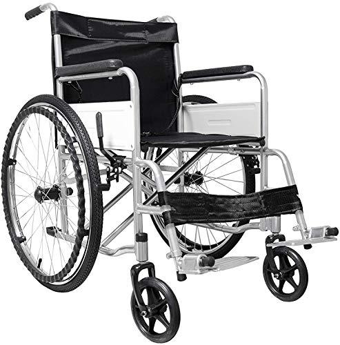 Sedia a Rotelle Pieghevole Leggera ad Autospinta, Carrozzina per Disabili ed Anziani con Braccioli e Poggiapiedi Estraibili, Cintura di Sicurezza, 85 x 69 x 91 cm, Nero