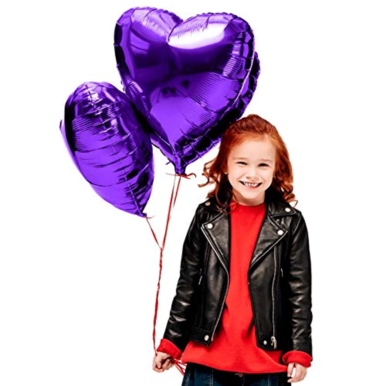 Treasures Gifted Valentines Day Heart Love Decorations in Violet Purple Foil Mylar Balloons for Birthday Bridal Shower Wedding Engagement Party Graduation Supplies (12 Pack)