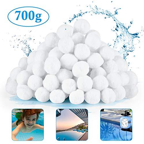 HHOOMY Pool Filterbälle 700g Umweltfreundliche Fasern Filtermedien für Pool Sandfilter, Entspricht 25 kg Poolfiltersand