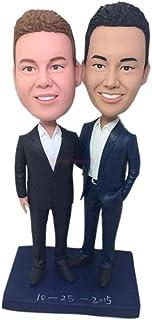 Gay Topper matrimonio personalizzato maschio Figurina topper matrimonio gay personalizzato basato sulla foto dei clienti D...