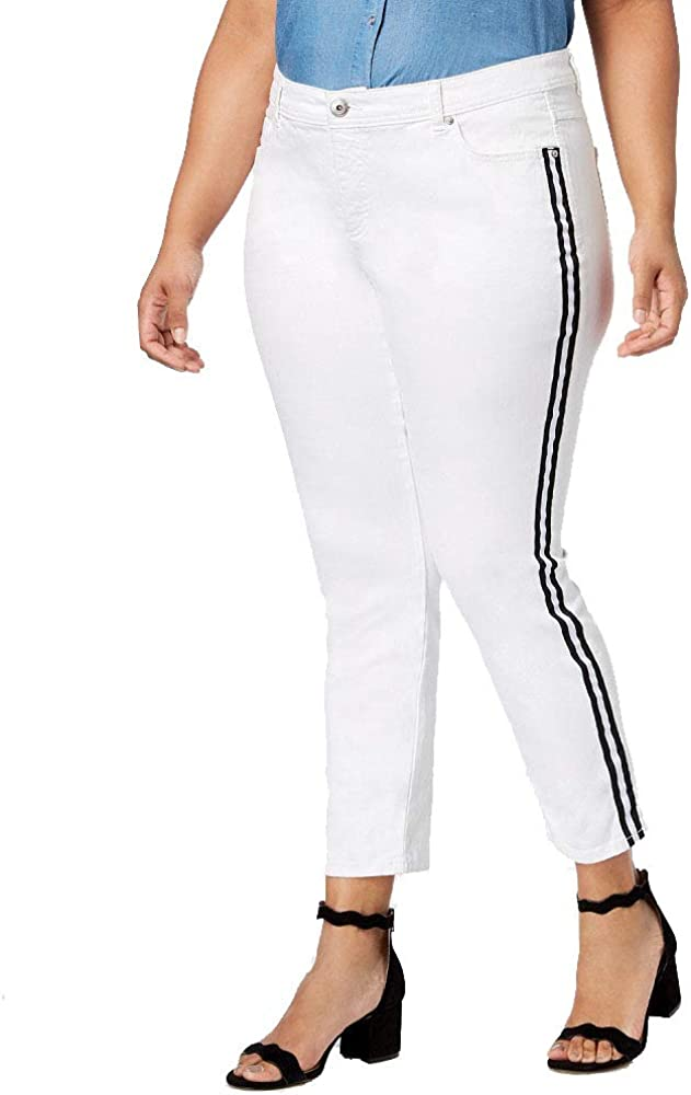 I.N.C. International Concepts Women's Plus Size Ribbon-Trim Skinny Ankle Jeans