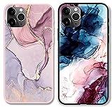 ZhuoFan 2 Piezas Funda para iPhone SE 2020/7 / 8 Dibujos Rosa Negro Silicona Cárcasa Suave TPU Antigolpes Anti-arañazos Ultra Fina Bumper Case Fundas Móvil para iPhone 8/7 SE 2020 4,7', Mármol