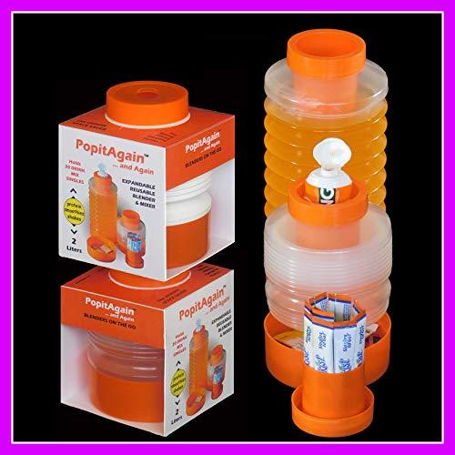POPITAGAIN y Otra vez Ampliable botellas de 2 litros. Un juego incluye 2 botellas y accesorios. 10 artículos en total. La mezcla ideal para todas tus bebidas mezcladas, sacudidas, proTEínas y suaves