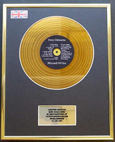 Limited Edition OZZY Osbourne/Mini Metal Gold Disc/EDICIÓN Limitada/COA/Blizzard of OZZ