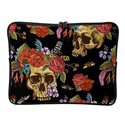 Bolsa de hombro para ordenador portátil y tableta, diseño de calavera y flores, Día de los muertos, ligera, para hombre, color blanco