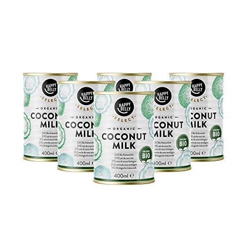 Marque Amazon - Happy Belly Select Lait de coco biologique pour la cuisine, 6 x 400ml