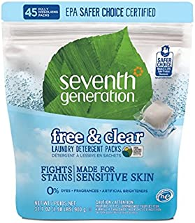 Seventh Generation Laundry Detergent Packs, Free & Clear, 45 Count, 31.7 oz