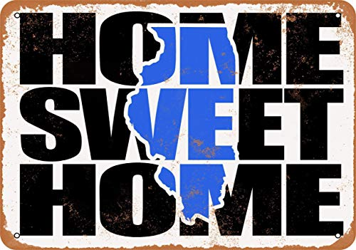 Lplpol Vintage Sign Home Sweet Home Illinois - Cartel de metal retro para interiores o exteriores, color azul, 10 x 14 cm