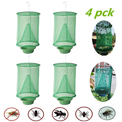QWCZY 15.7inch Ranch Fliegenfalle Flycatcher Folding Hanging Fliegen Cage MeshThe Most Effective Falle Aller Zeiten gemacht mit Nahrung Bait Flay Catcher für Outdoor (4 Stück)