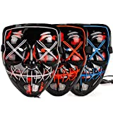 iChase Light Up Purge Scary Mask,EL Wire Neon Cosplay Mask,Flashing LED Rave Mask for Halloween Decorations 3Pack(red,Blue,White)