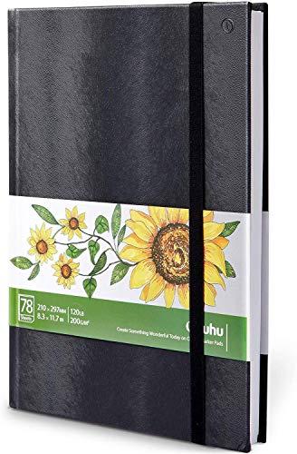 Zeichenblock A4, Ohuhu Skizzenbuch Aquarell 210×297mm, Skizzenbuch Quadratisch, Hardcover Skizzenbuchen A4, 120 LB/200 GSM Schwere Glatte Zeichenpapiere 78 Blatt/156 Seit