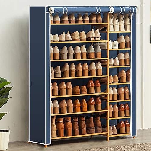 Simplicidad Zapatero,7-nivel Estante De Almacenamiento De Rack De Zapatos De Bambú Para Organizador De Almacenamiento De Zapatos De Entrada Con Cubierta De Tela Oxford A Prueba De -Azul. 100x28x120cm