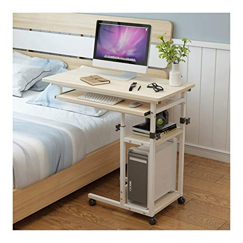 Bett Rolltisch Overbed Tabelle Tage Overbed Tabelle Mobil Laptop Stand Schreibtisch Einstellbare Höhe 4 Casters (Color : White)
